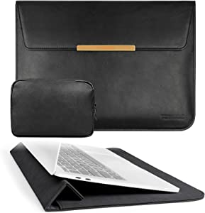 TOWOOZ 13.3 Inch Laptop Sleeve Case Compatible with 2016-2020 MacBook Air / MacBook Pro 13-13.3 inch / iPad Pro 12.9 / Dell XPS 13/ Surface Pro X , PU Leather Bag (13-13.3, PU Black)