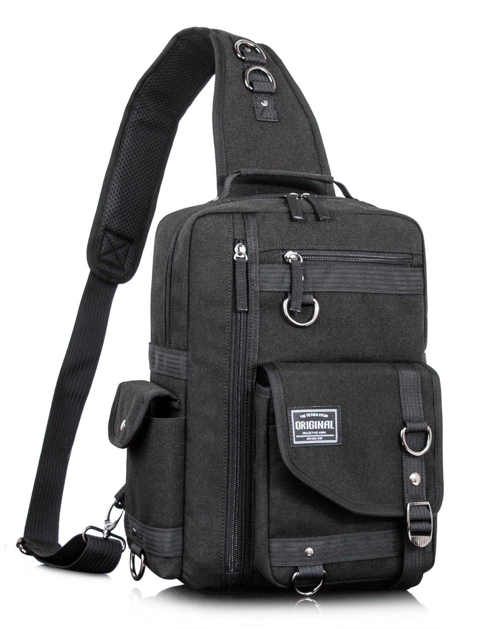 Leaper Messenger Bag Outdoor Cross Body Bag Sling Bag Shoulder Bag Black2