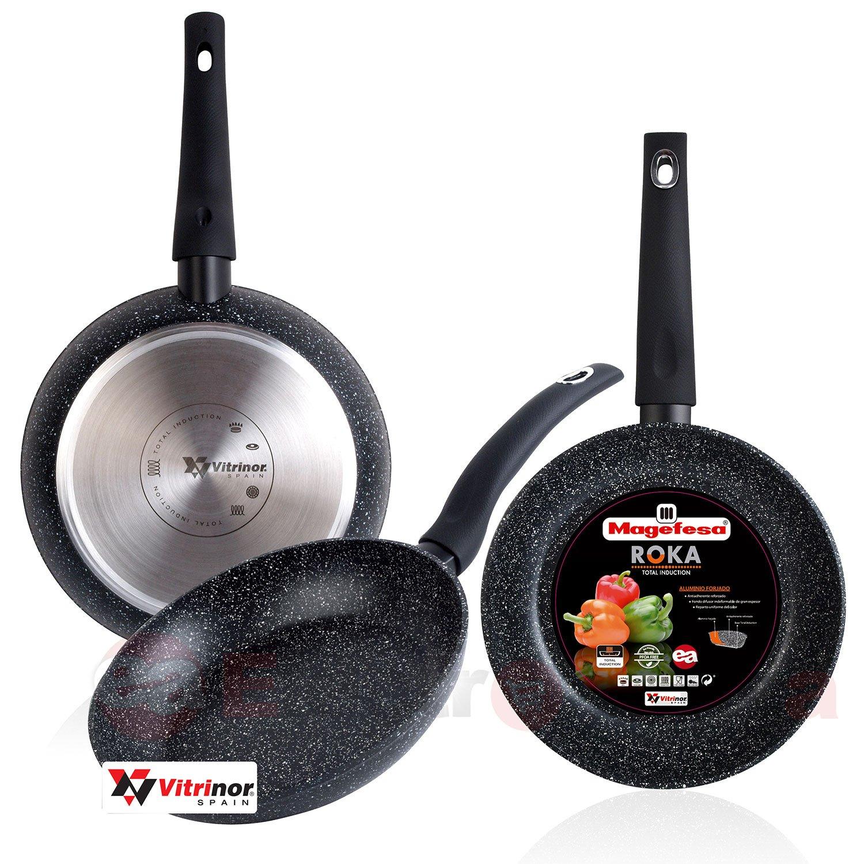 Magefesa Roka - Set Juego 3 Sartenes 20-24-28 cm aluminio, inducción, antiadherente piedra libre de PFOA, limpieza lavavajillas apta para todas las cocinas, ...