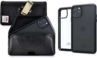 product image for Turtleback Tough Defense Case/Pouch Combo Designed for New iPhone 11 Pro Max (2019) 6.5 Inch, Military Grade Drop Tested Ultra Clear Back fitted in Black Leather Holster Rotating Clip-Horizontal/Black