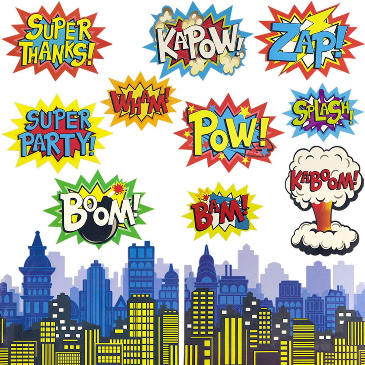 Large Superhero Action Signs Cutouts 12PCS Words and Cityscape Cut-Outs for Party Decoration