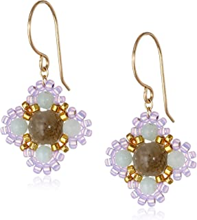 product image for Miguel Ases Small Calcite and Quartz Miyuki Encased Flower Drop Earrings