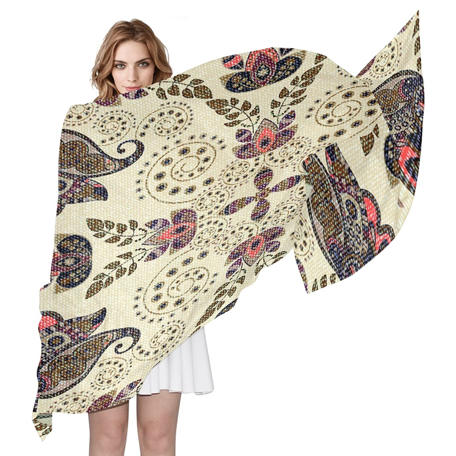 WDYSECRET Brown Paisley Silk Printing Scarves for Women 70.86x35.4(in)