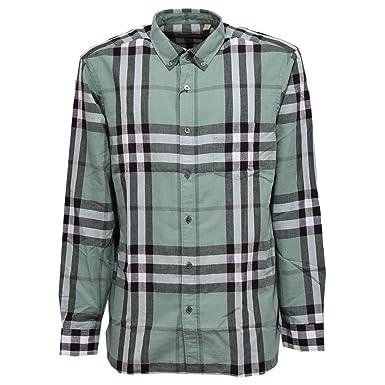 c6c3fb9d0deb BURBERRY 0670W Camicia Uomo London England Slate Green Shirt Linen Men  S