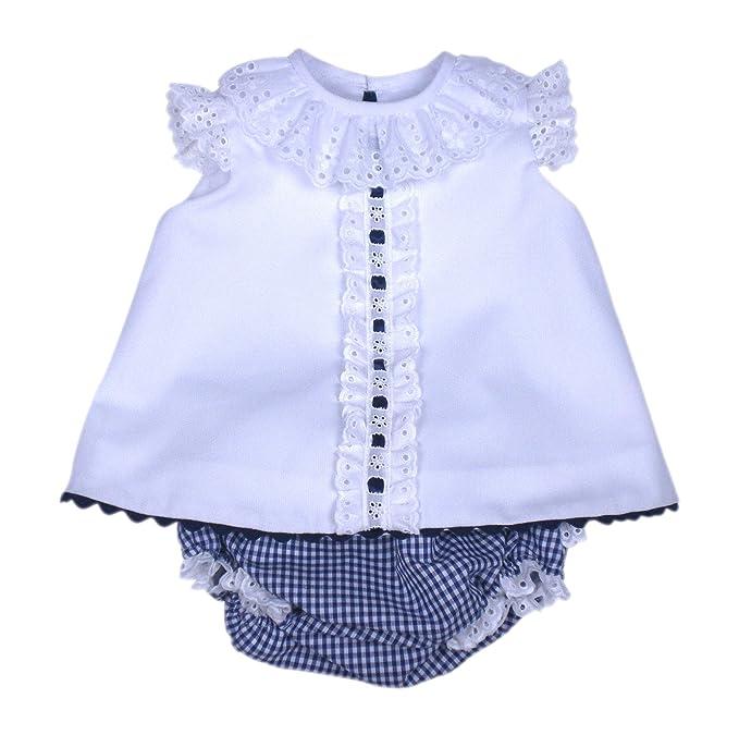 MI HIJA Y YO Vestido y Cubre Pañal de Vichy y Piqué Modelo Jesusín para Bebé