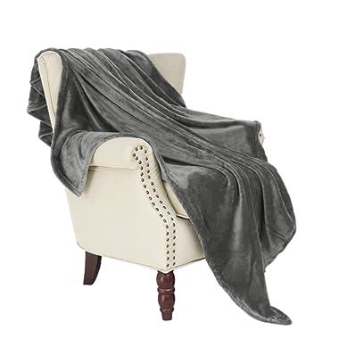 Exclusivo Mezcla Large Flannel Fleece Velvet Plush Throw Blanket – 50  x 70  (Grey)