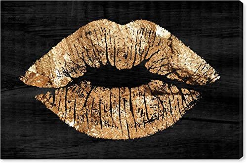 The Oliver Gal Artist Co. Fashion and Glam Wall Art Canvas Prints 'Solid Kiss Night' Home D cor