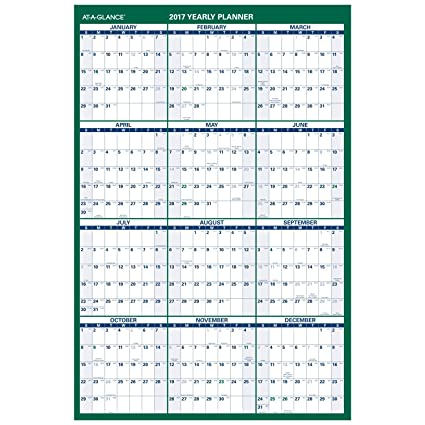 amazon com at a glance wall calendar 2017 erasable reversible