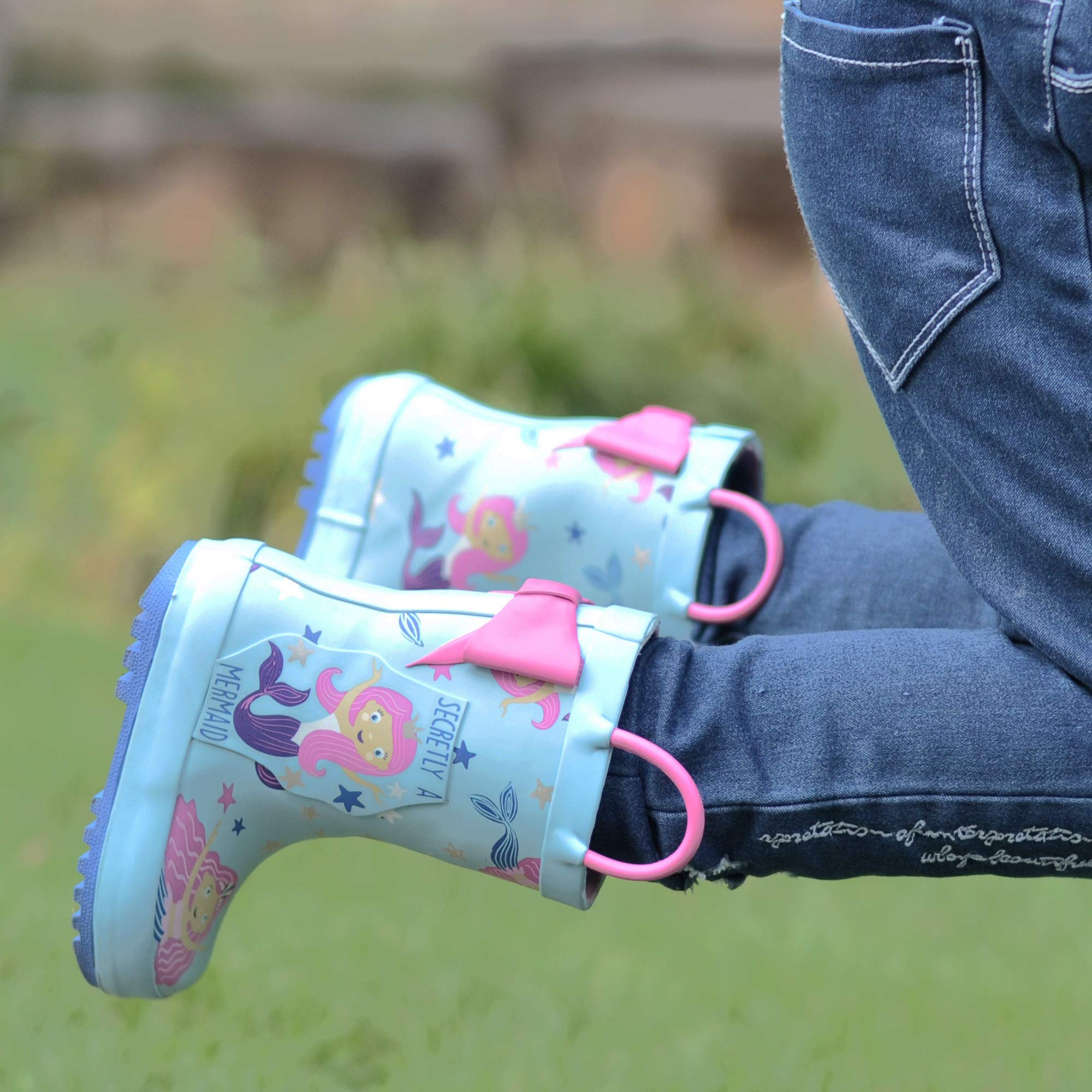 SHOFORT Girls' Rain Boots Rubber Handles Toddler, Size 9 by SHOFORT (Image #2)