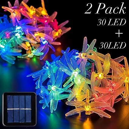 Amazon 2 pack solar strings lights gigalumi 20 feet 30 led 2 pack solar strings lights gigalumi 20 feet 30 led dragonfly solar fairy lights mozeypictures Choice Image