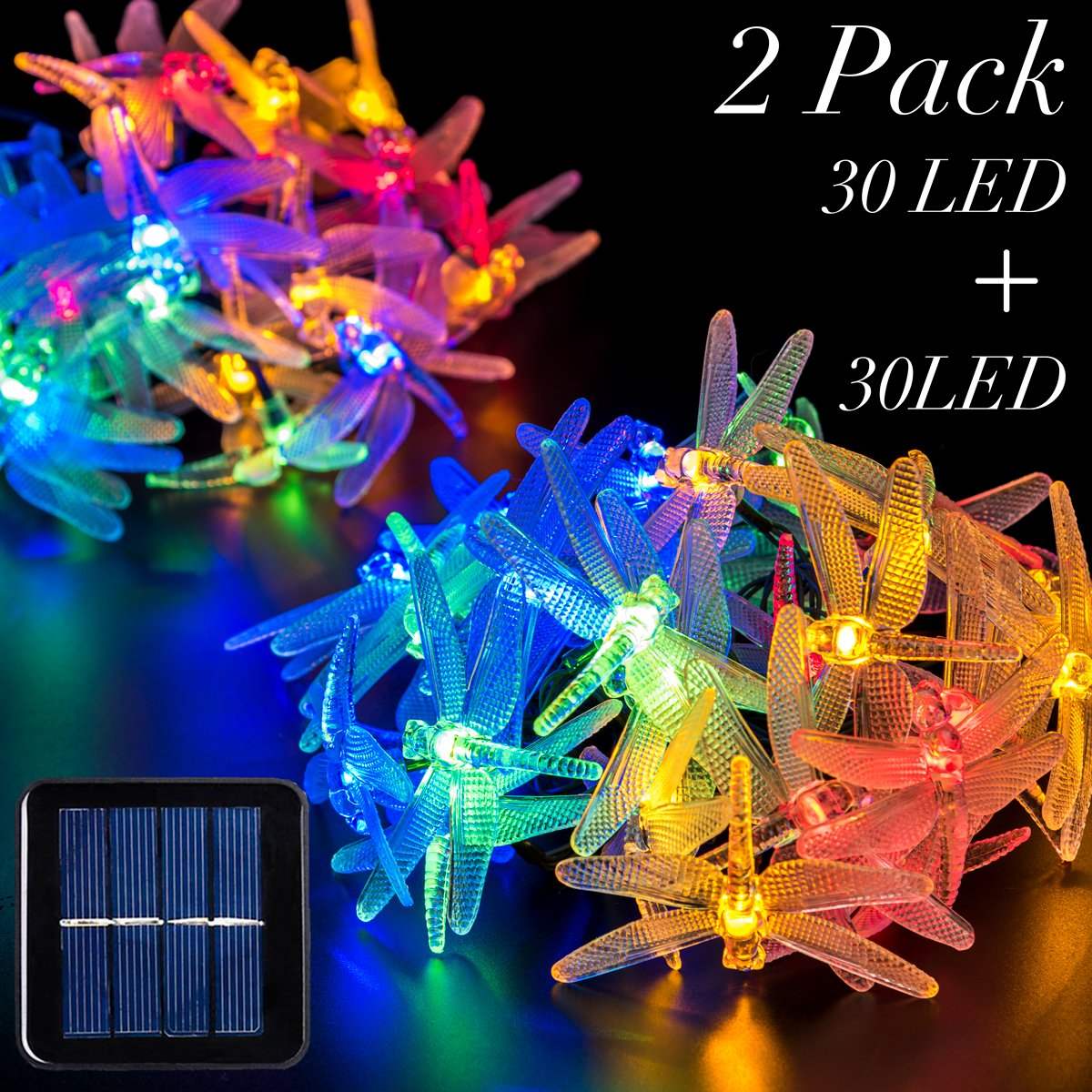 GIGALUMI 2 Pack Solar Strings Lights, 20 Feet 30 LED Dragonfly Solar Fairy Lights, Garden Lights for Outdoor, Home, Lawn, Wedding, Patio, Party and Holiday Decorations- Multi Color