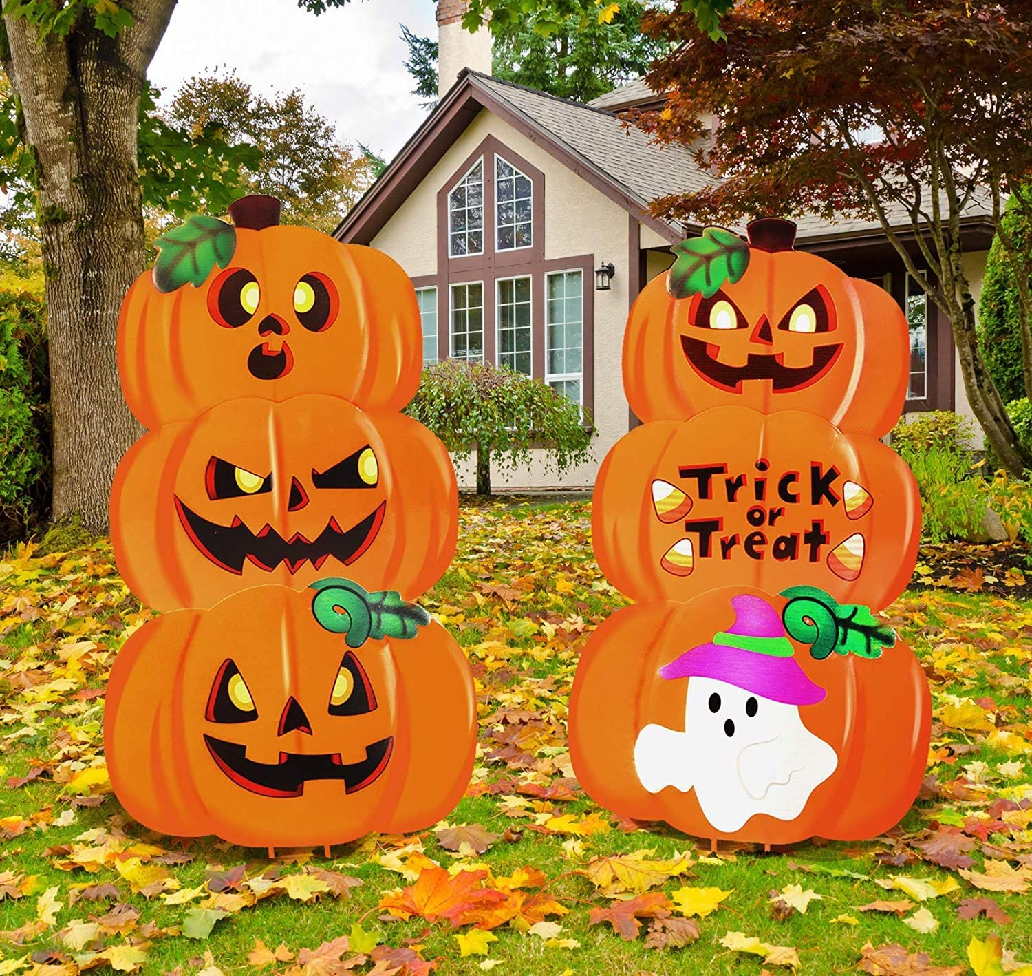 JOYIN 2 Stacked Metal Halloween Lawn Yard Stake Signs for Outdoor Decorations, Pumpkin & Ghost Home Decor, Trick or Treat Props, Homeschooling Fun