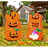 JOYIN 2 Stacked Metal Halloween Lawn Yard Stake Signs for Outdoor Decorations, Pumpkin & Ghost Home Decor, Trick or…