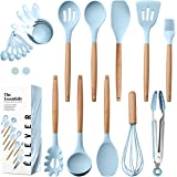 Kitchen Utensils Set - 20 Silicone Cooking Utensils for Non-stick Cookware. Wood Kitchen Utensils. BPA Free, Silicone Spatula