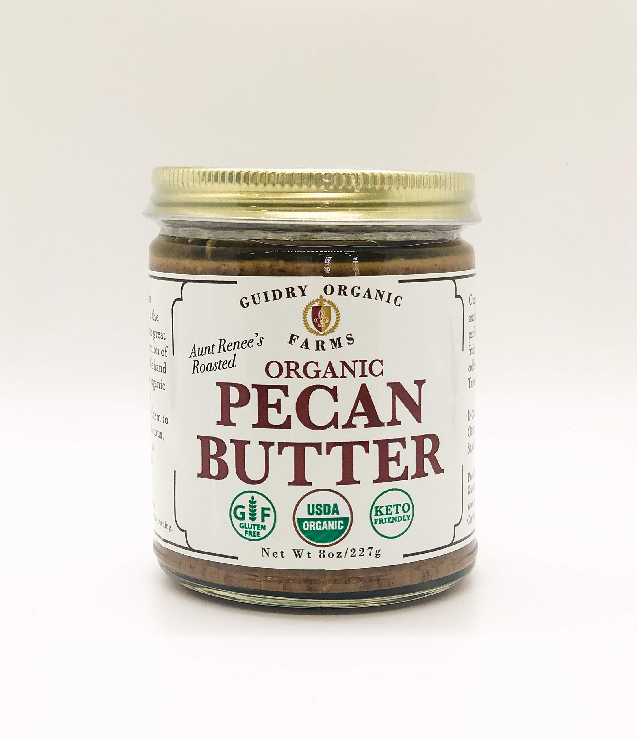 USDA Certified Organic Pecan Butter, Handmade, Small batches, Keto Friendly, Gluten Free, All Natural, made of Organic Pecans, and Sea Salt , no other additives! NO SUGAR ADDED by Guidry Organic Farms
