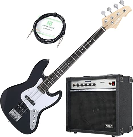 Rocktile Pack bajo eléctrico Fatboy II Starter negro (con amplificador y cable): Amazon.es: Instrumentos musicales