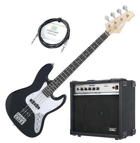 Rocktile Pack bajo eléctrico Fatboy II Starter negro (con amplificador y cable)