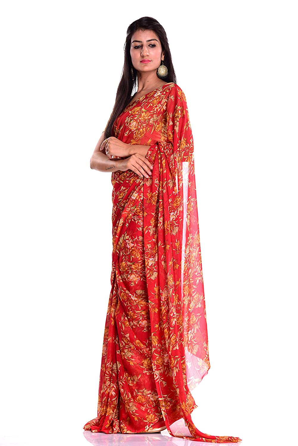 d31901c34a Kastiel Red Floral Printed Saree With Blouse Piece: Amazon.in: Clothing &  Accessories