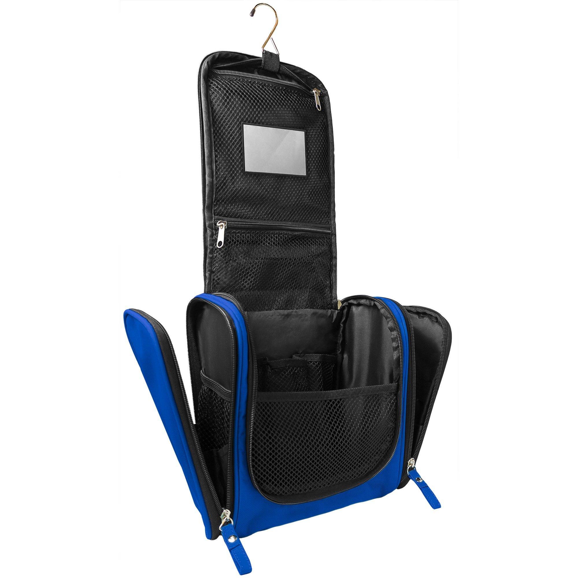 Trousse de toilette spacieuse avec crochet de fixation & miroir détachable | Grand kit de voyage pour hommes & femmes | Sac de toilette XXL résistant à l\'eau avec lanière de fixation (Bleu)