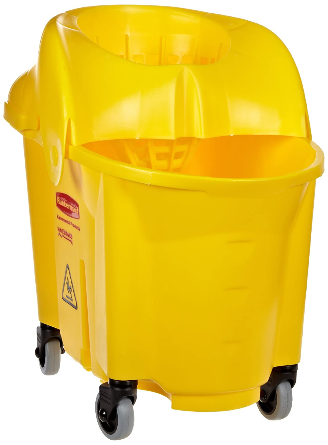 Rubbermaid Commercial WaveBrake 2.0 35 QT institution Mop Bucket and Wringer, Yellow (FG759088YEL)