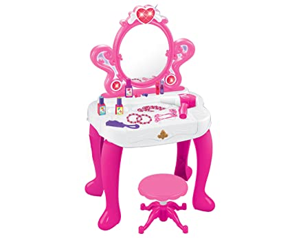 Princess Vanity Set Girls Toy Pretend Play Kids Vanity Table And Chair  Beauty Play Set With