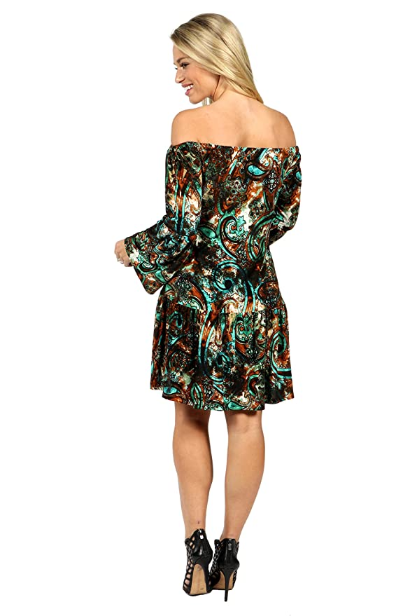 7ce5360e3e343 24Seven Comfort Apparel Peacock Off Shoulder Bell Sleeve Maternity Dress at  Amazon Women's Clothing store:
