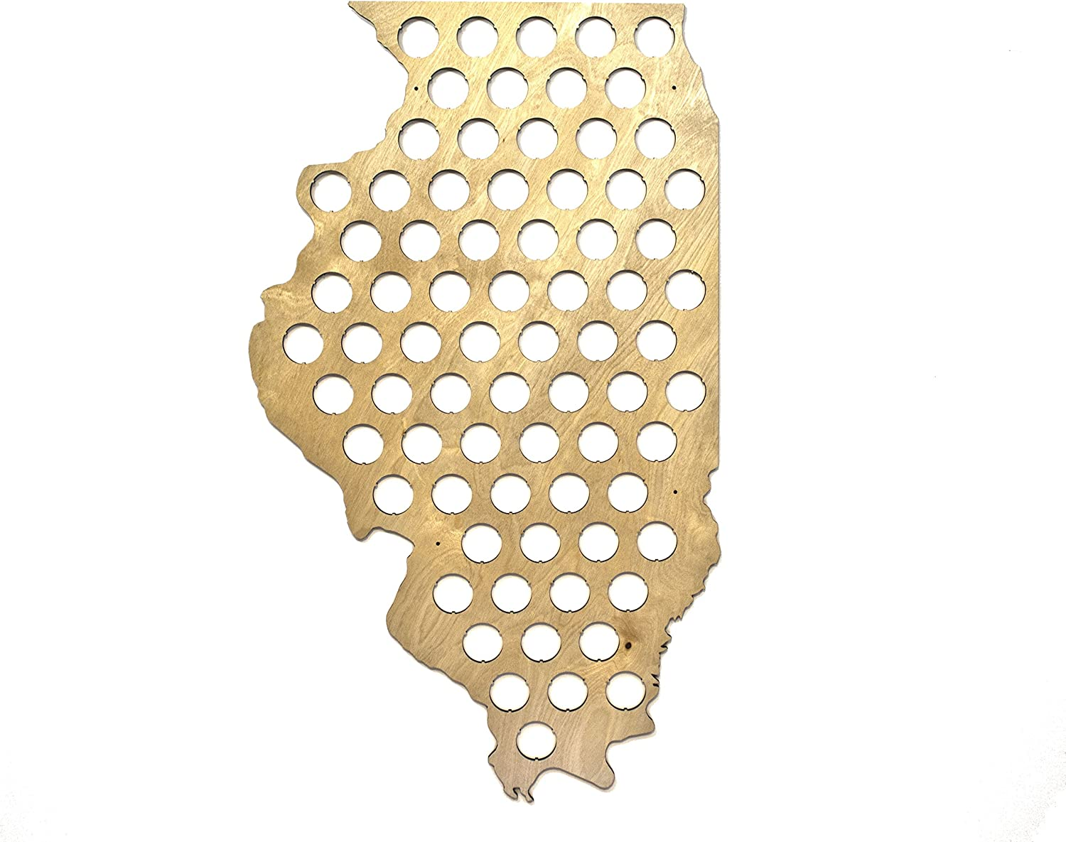 All 50 States Beer Cap Map - Illinois Beer Cap Map IL - Glossy Wood - Skyline Workshop - Great Christmas gift!