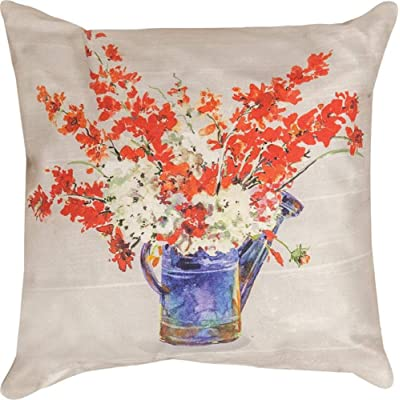 "CC Home Furnishings 18"" Orange and Purple Americana Watering Can Printed Outdoor Square Throw Pillow with Knife Edge: Home & Kitchen"