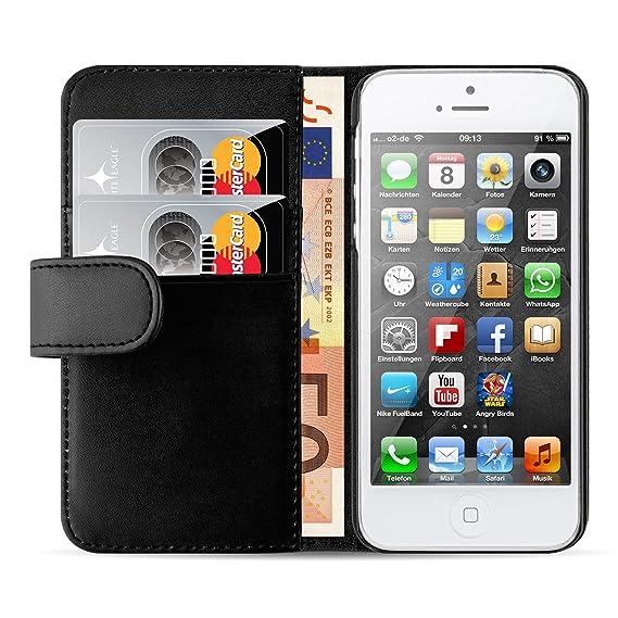JAMMYLIZARD Lederhülle für iPhone SE und iPhone 5 / 5s | Ledertasche [ Wallet Tasche Series ] Leder Book Case Hülle Flip Cove