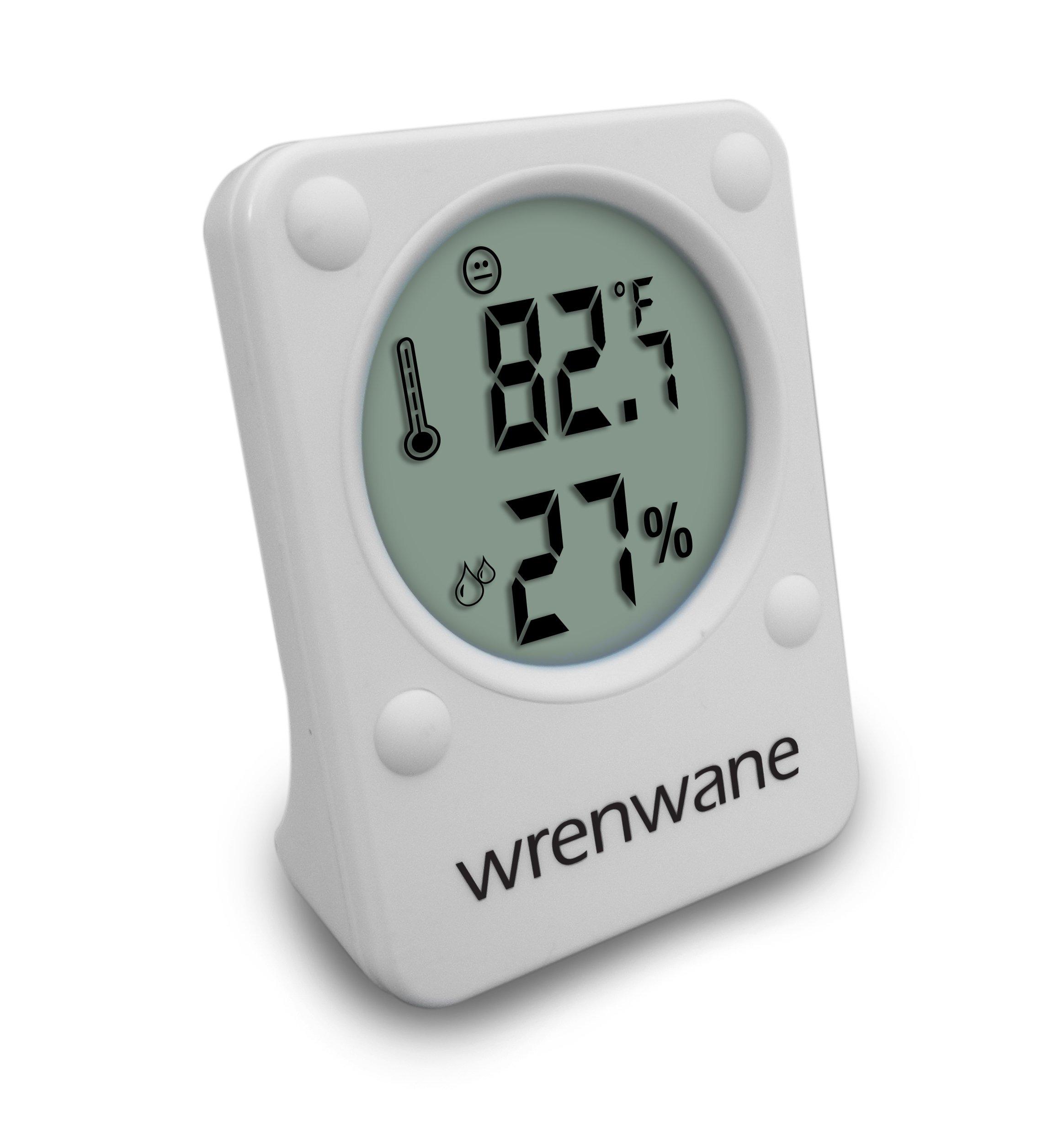 Wrenwane Hygrometer Humidity Sensor Indoor Room Thermometer Fahrenheit Or Celsius White