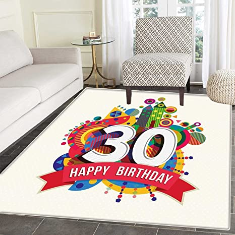 30th Birthday Area Rug Colorful Geometric Design With Funky Vibrant Shapes  Cute Cheerful Themed Indoor/