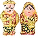 Rajkruti handicraft home decor husband wife showpiece (kaka kaki) - (7.62 cm * 5.58 cm * 8.89 cm , Golden Color)