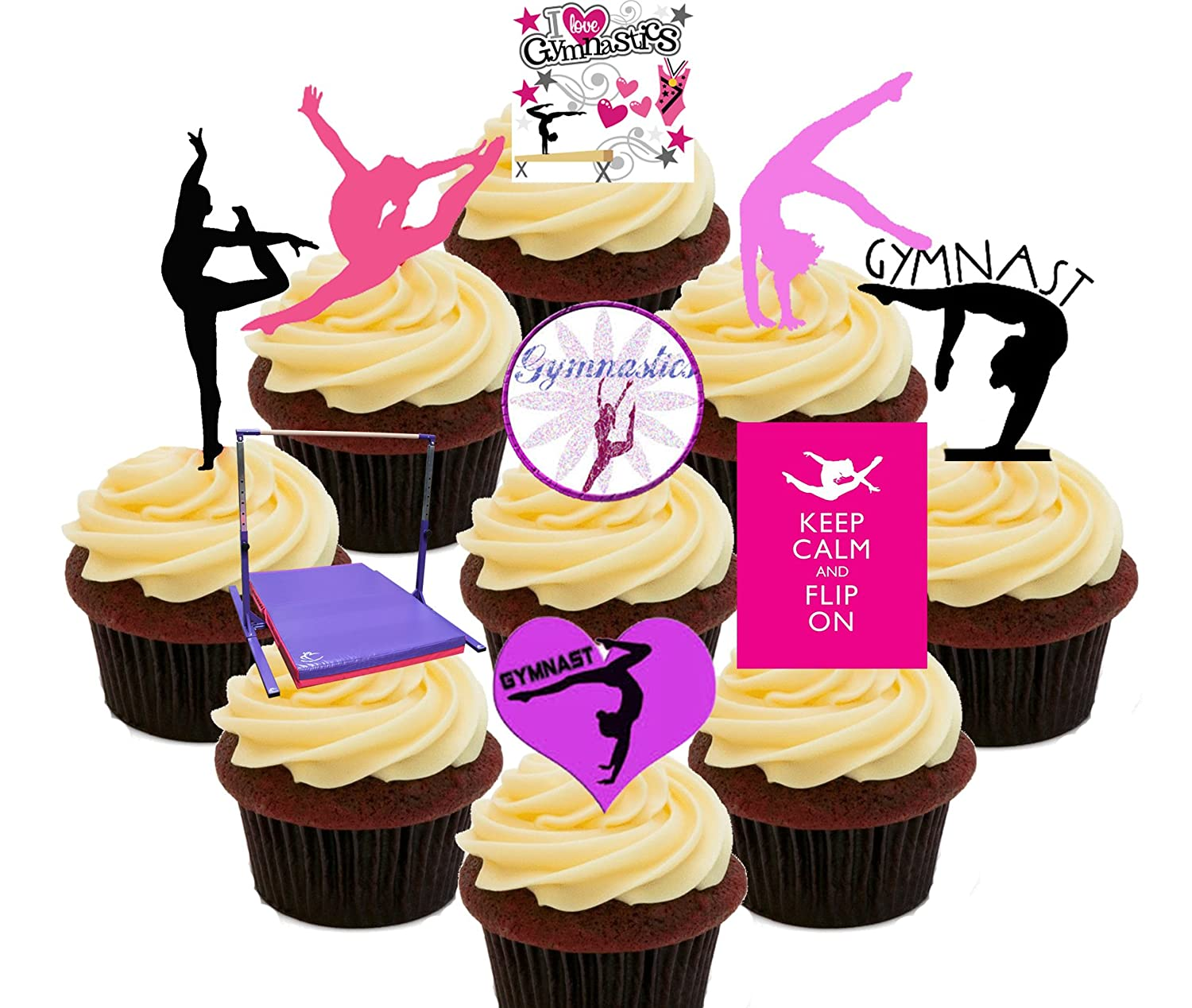I Love Gymnastics Party Pack, Edible Cupcake Toppers - Stand-up ...
