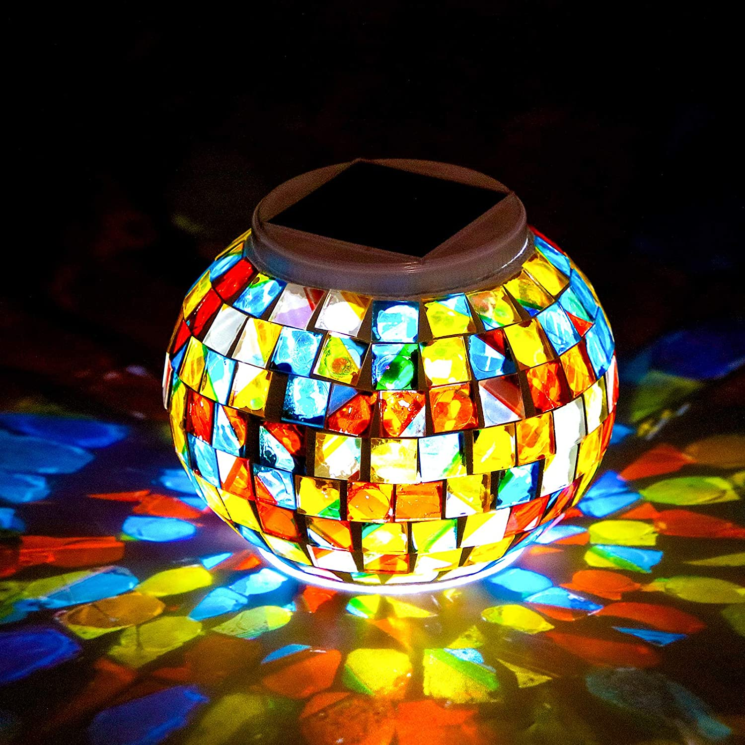 Color Changing Solar Powered Glass Mosaic Light