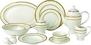 Lorren Home Trends 57 Piece Sonia Collection Dinnerware Set, Gold