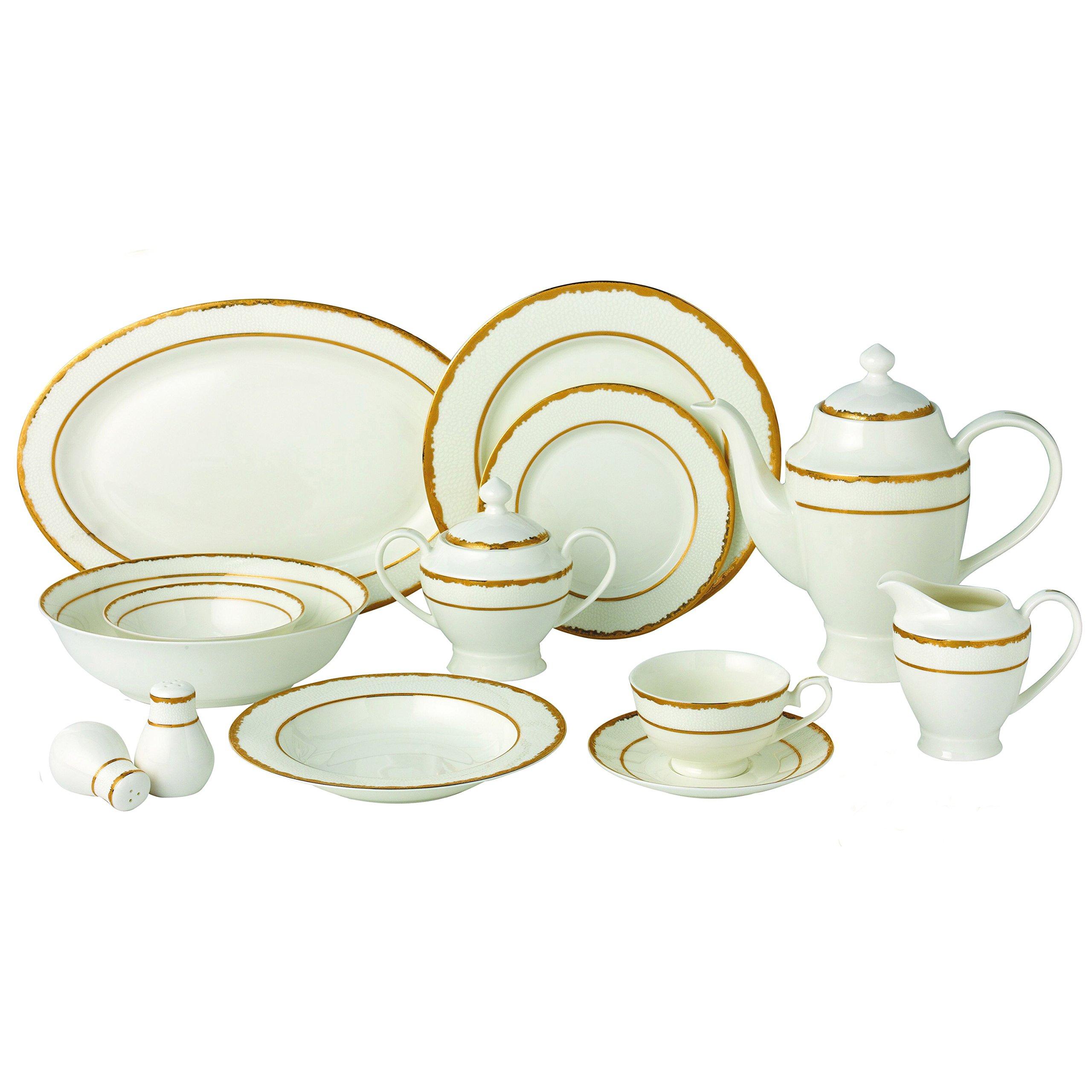 Lorren Home Trends Sonia-57 57 Piece Sonia Collection Dinnerware Set, Gold