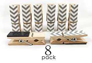 8 Pack Clothes Pin Magnetic Clips for Refrigerator, Home or Office | Decorative Chevron Styles (Gray)