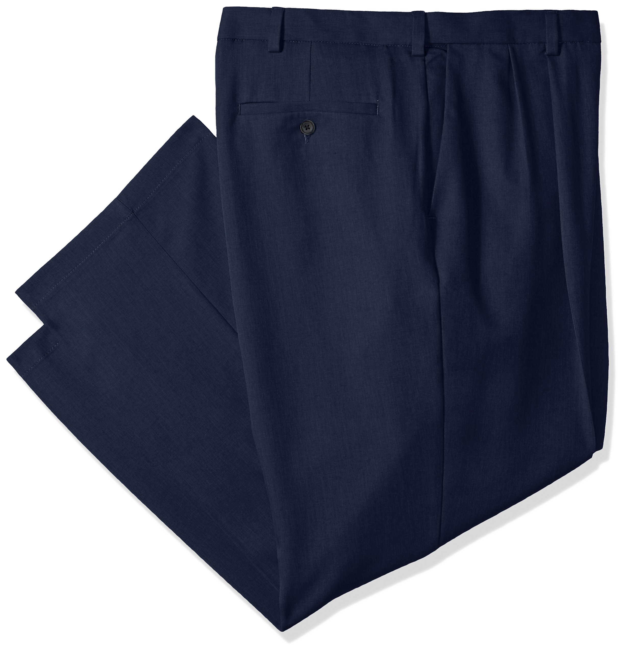 Haggar Men's Cool 18 Pro Classic Fit Pleat Front Expandable Waist Pant, Navy, 50Wx34L