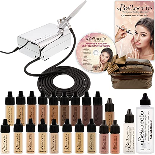 Complete Professional Belloccio Airbrush Cosmetic Makeup System with a MASTER SET of All 17 Foundation Shades in 1/4 oz Bottles
