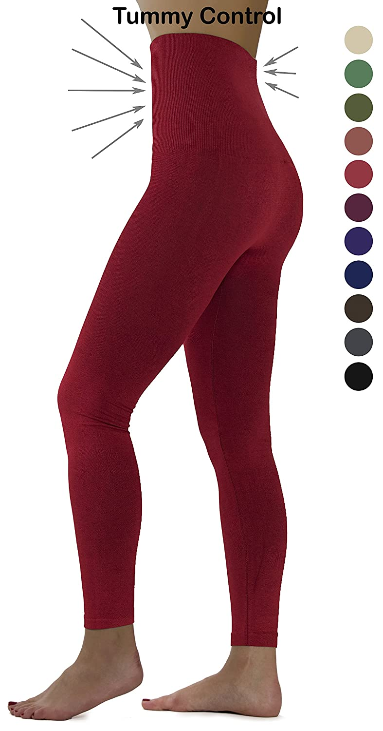 Red Fleece Ylluo Premium Tummy Support Slimming Leggings Thick High Waist Fleece and Non Fleece