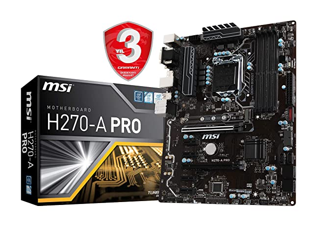 MSI H270-A PRO LGA1151/ Intel H270/ DDR4/ 2-Way CrossFireX/ SATA3&USB3.1/ M.2/ A&GbE/ATX Motherboard Motherboards at amazon