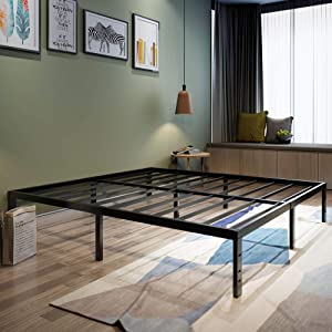 45MinST 18 Inch Platform Bed Frame/Easy Assembly Mattress Foundation / 3000lbs Heavy Duty Steel Slat/Noise Free/No Box Spring Needed, Twin/Queen/King/Cal King (Twin)