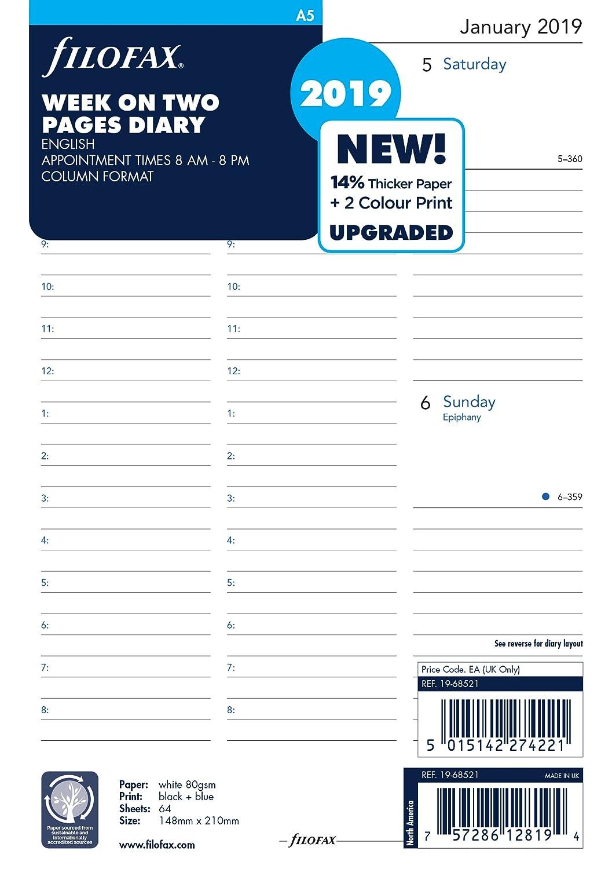 Filofax 19–68521A5Woche auf zwei Seiten Englisch 2019Diary 19-68521
