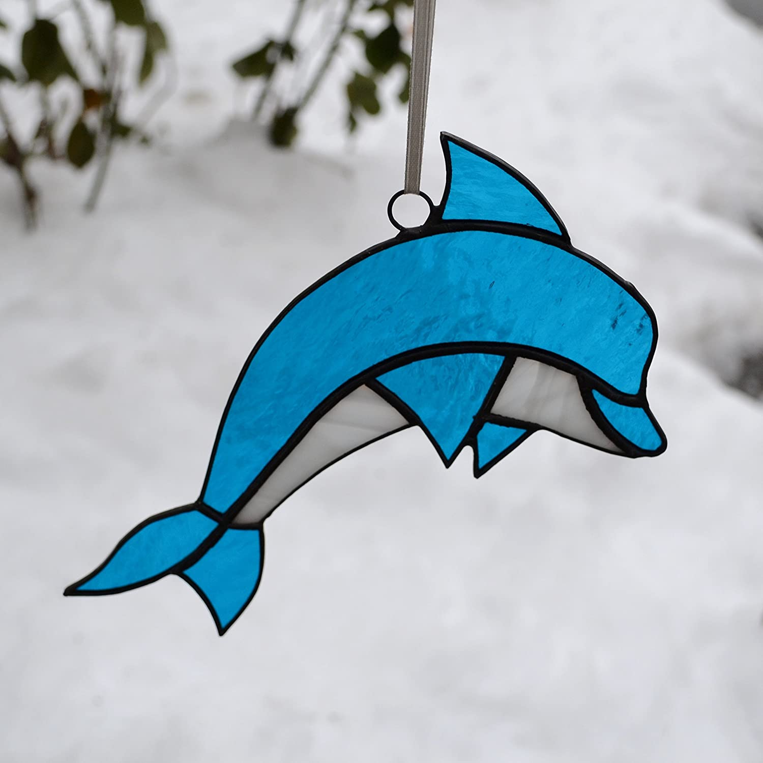 Stained Glass Dolphin Sun Catcher in aqua blue and white, Nautical Window Decoration or Wall Decor