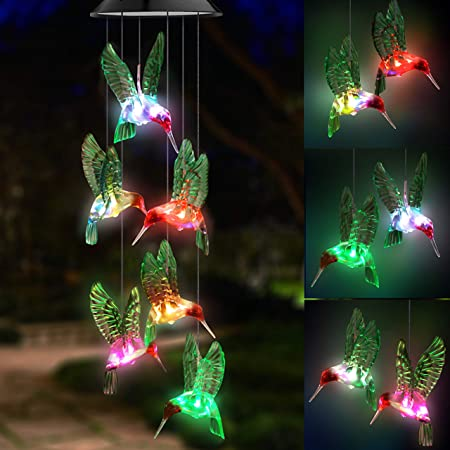 Topspeeder LED Solar Hummingbird Wind Chime, Changing Color Waterproof Six  Hummingbird Wind Chimes for Home Party Night Garden Decoration: Amazon.in:  Garden & Outdoors