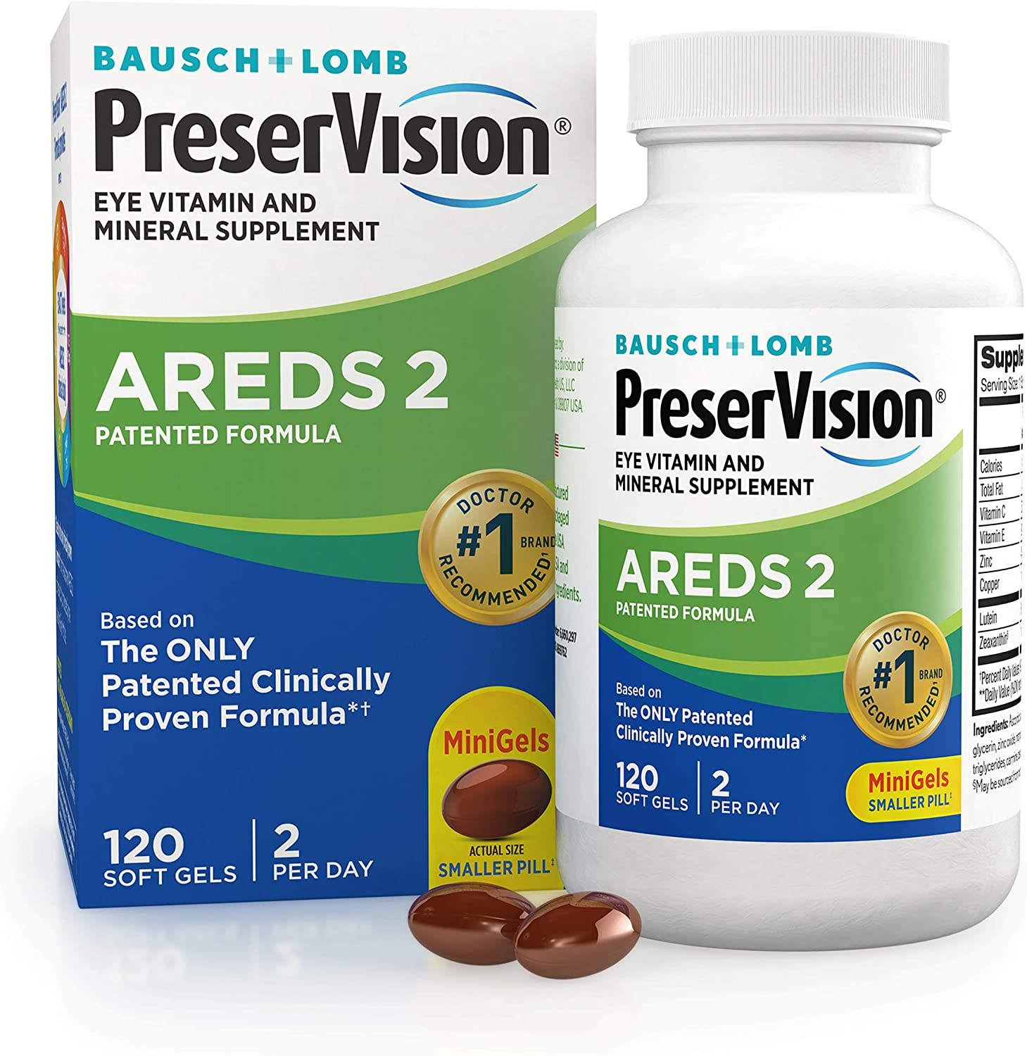 PreserVision AREDS 2 Eye Vitamin & Mineral Supplement, Contains Lutein, Vitamin C, Zeaxanthin, Zinc & Vitamin E, 120 Softgels (Packaging May Vary)
