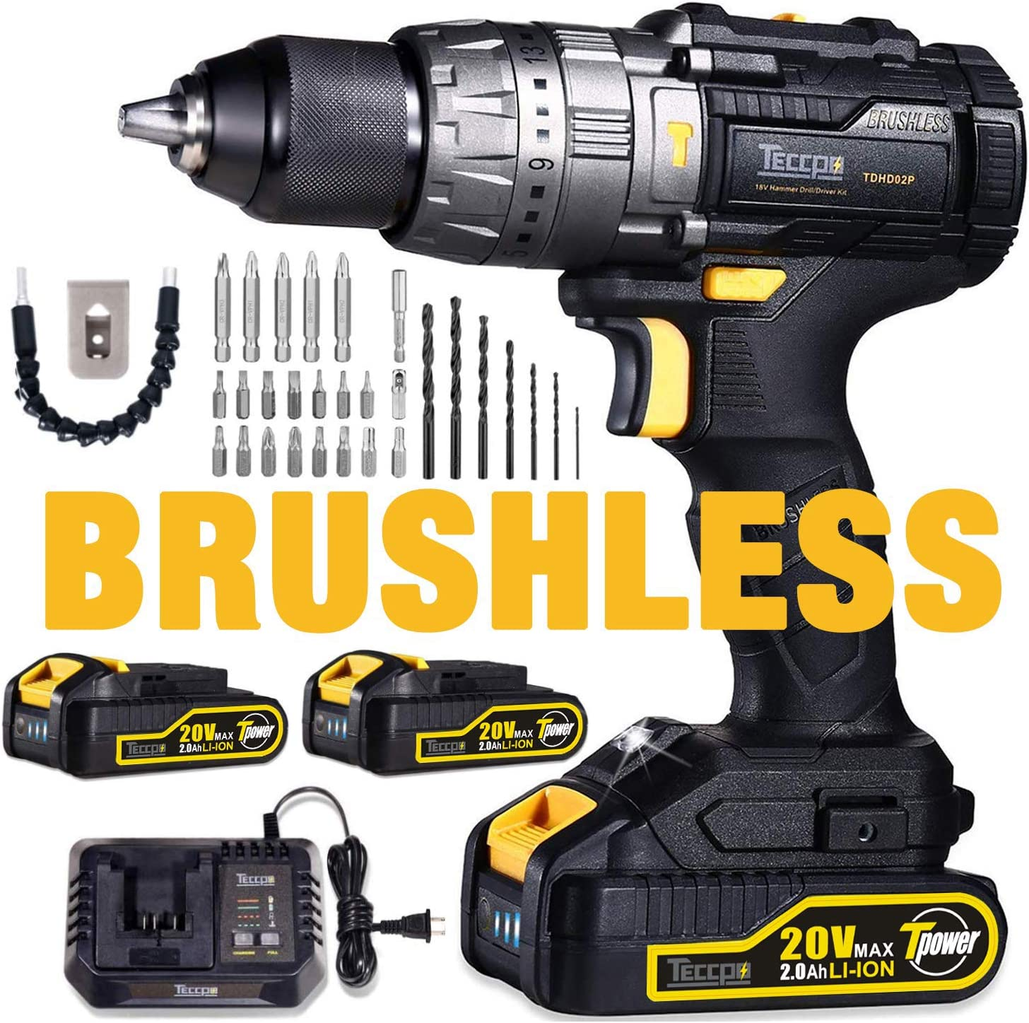 Brushless Drill, TECCPO 20V Cordless Hammer Drill 530In-lbs, 2 Batteries 2.0Ah, 30min Fast Charger, 21 3 Torque Setting, 29pcs Free Accessories, 2-Speeds, 1 2 Metal Chuck