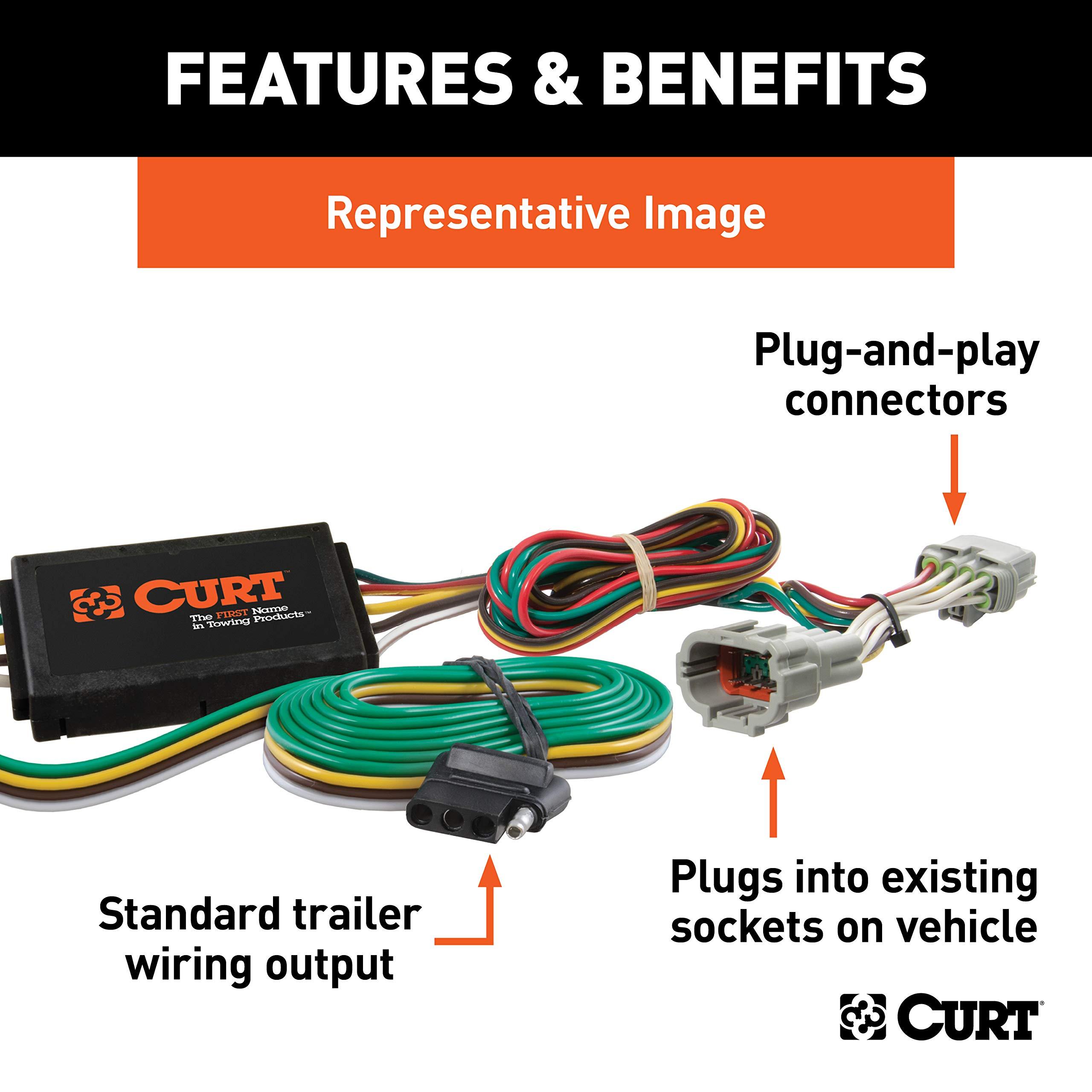 CURT 55106 Vehicle-Side Custom 4-Pin Trailer Wiring Harness ... on