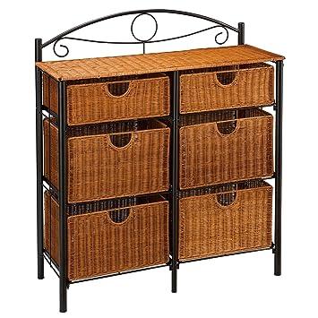 6 Drawer Iron/wicker Storage Unit