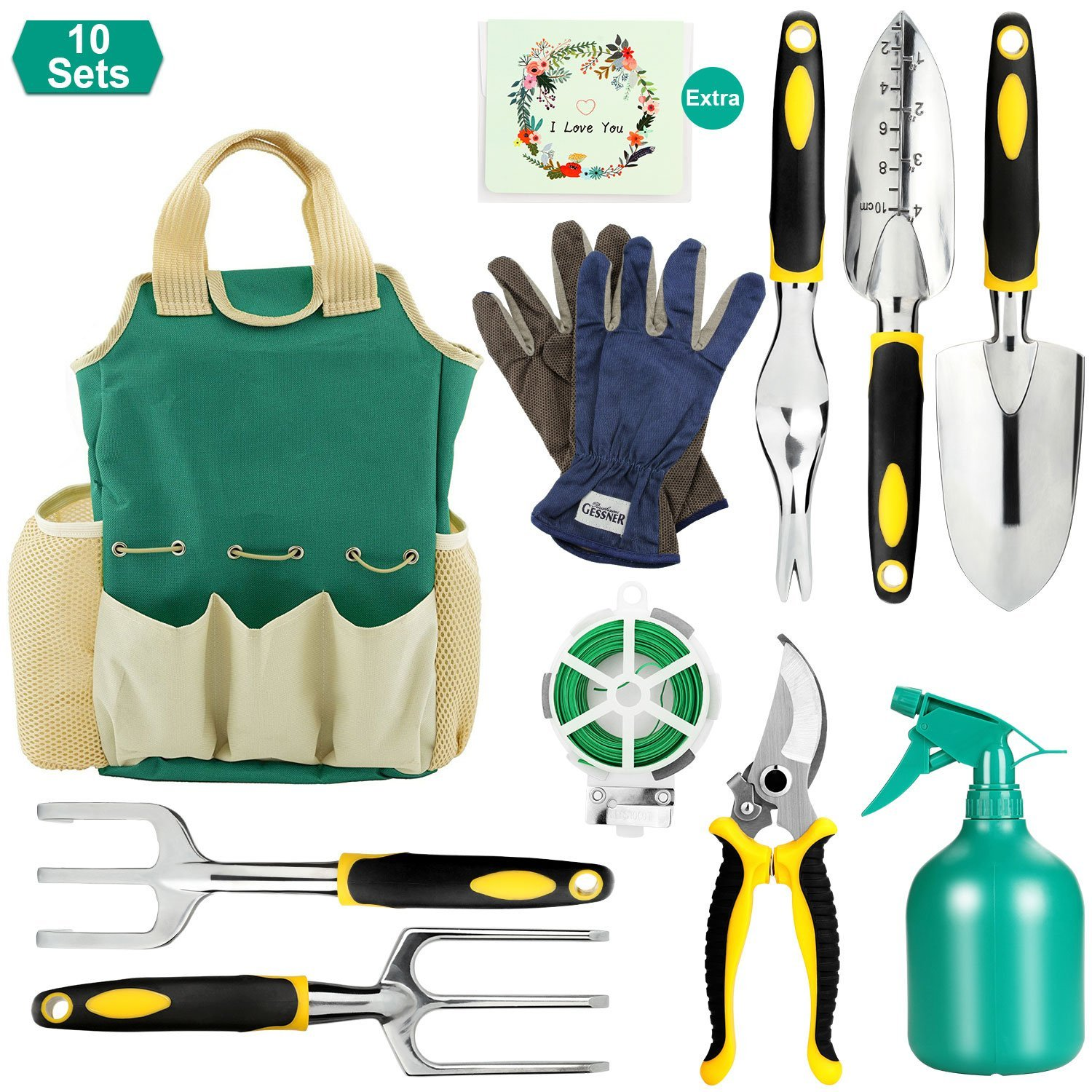 Fitnate Garden Tool Set, 10PCS Gardening Tools With Garden Storage Bag, Plant Rope, Soft Gloves, Watering Can, Garden Shear & 5pcs Garden Planting Tools